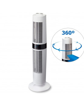 ventilador de torre Clean Air Optima CA-406W blanco giro completo
