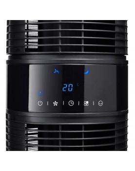 torre ventilador negra con panel LED