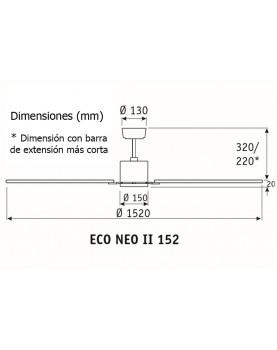esquema ventilador de techo con luz CasaFan 92250351 ECO NEO II 152 negro o teca/ cromo