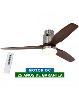 ventilador brillante con luz motor DC y aspas de madera natural