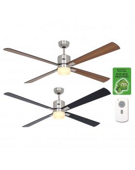 Ventilador de techo con luz CasaFan 92250351 ECO NEO II 152 negro o teca/ cromo