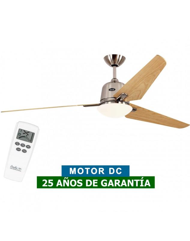 Ventilador de techo con luz CasaFan 516087 ECO AVIATOS 162 arce/ cromo satinado BN-AH DC