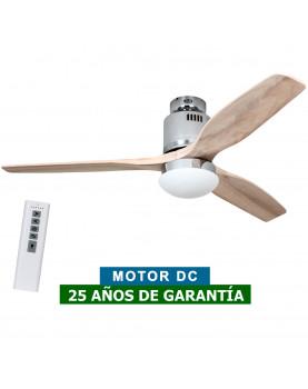 Ventilador de techo con luz CasaFan 93132313 AERODYNAMIX ECO 132 madera natural/ cromo brillante
