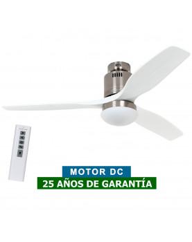Ventilador de techo con luz CasaFan 93132332 AERODYNAMIX ECO 132 gris claro/ cromo cepillado