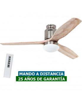 Ventilador de techo con luz CasaFan 93132333 AERODYNAMIX ECO 132 madera natural/ cromo cepillado