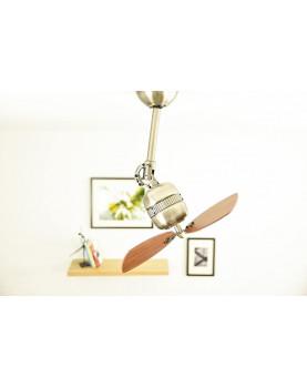 Ceiling Fan Propeller Toledo in Antique Brass with Wall Control, Blades Walnut