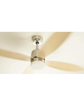 Stratus Low Energy Ceiling Fan Satin Nickel with LED Light and Remote Control Pointed Blades in Maple [Energy Class A++]