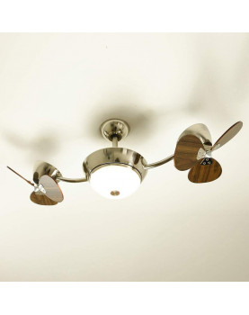"""Low Energy Ceiling Fan eFan Satin Nickel 42"""" with Light and Remote Control Blade Colour Walnut"""