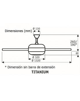 esquema Ventilador de techo con luz CasaFan 9513260 TITANIUM haya o pino /cromo satinado