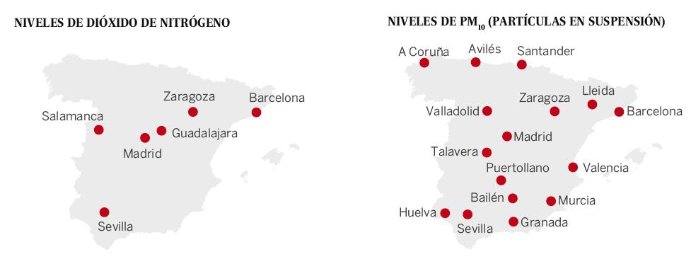 Ciudades de España con problemas de contaminación