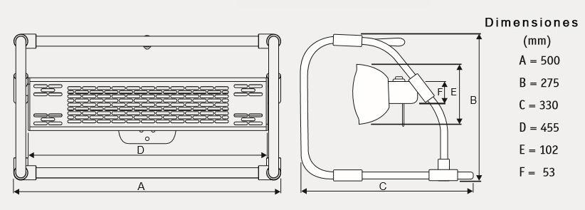 Dimensiones del calefactor CasaFan 70033