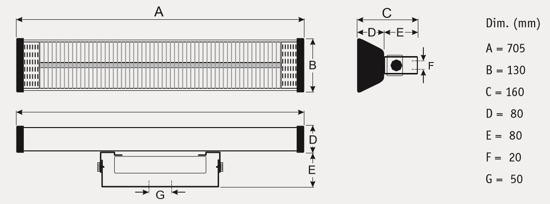 Dimensiones del calefactor para exteriores CasaFan 71001