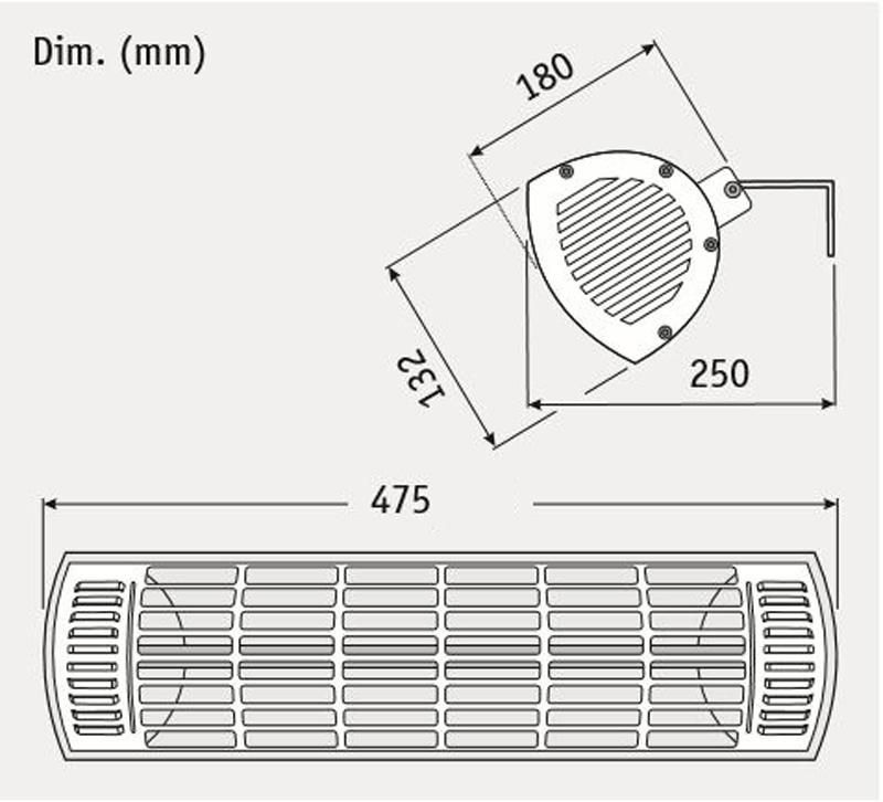 Dimensiones del calefactor para exteriores CasaFan 70028