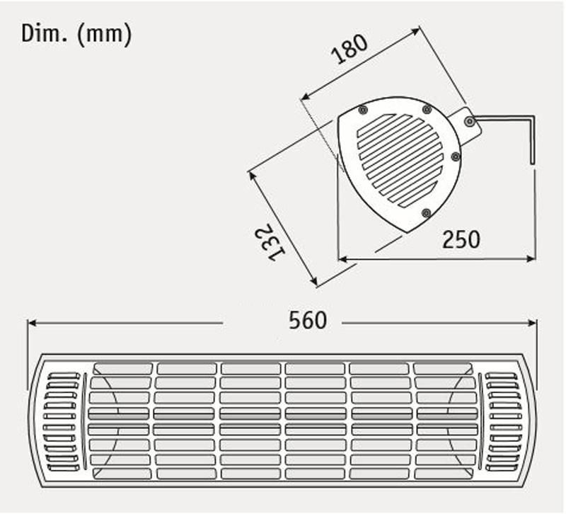 Dimensiones del calefactor para exteriores CasaFan 70031