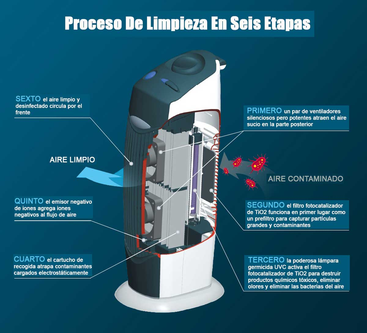 Diagrama de etapas del purificador clean Air Optima CA-366