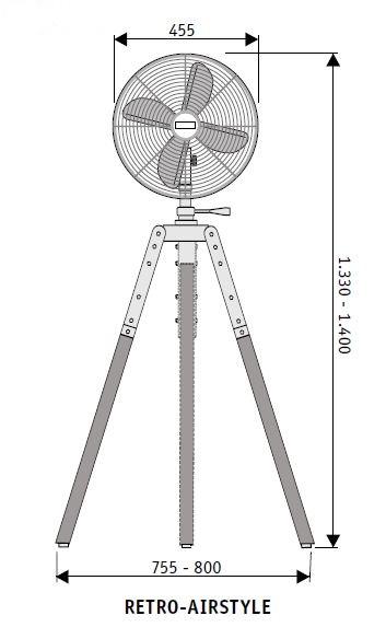 Esquema del ventilador de pie CasaFan 304086 RETO-AIRSTYLE