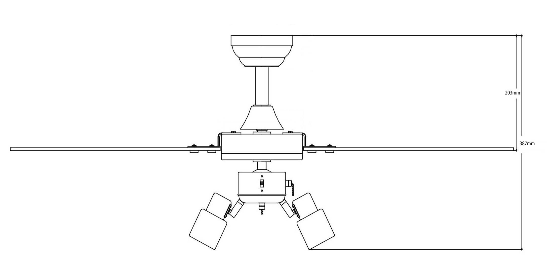 Esquema ventilador para techo AireRyder FN44477 cyrus función inversa