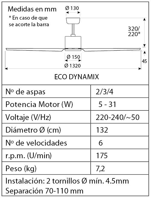 Esquema del ventilador para techos Eco Dynamix