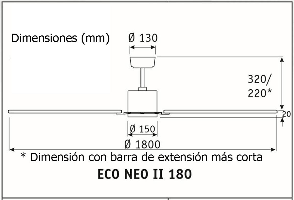Esquema ventilador de techo CasaFan 922524 Eco Neo  180