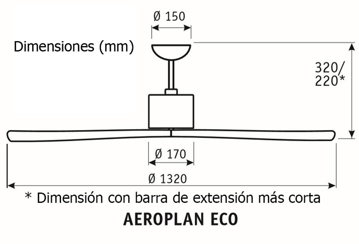 Esquema ventilador de techo CasaFan 313247 Aeroplan Eco