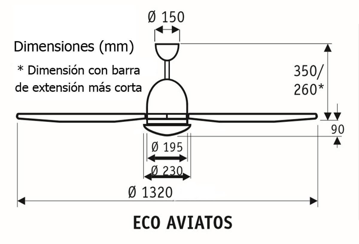 Esquema ventilador de techo CasaFan 513285 eco aviatos