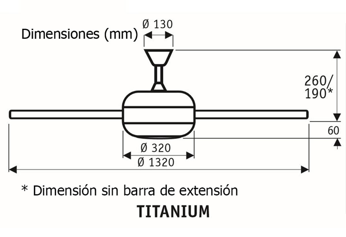 Esquema ventilador de techo CasaFan 9513260 Titanium