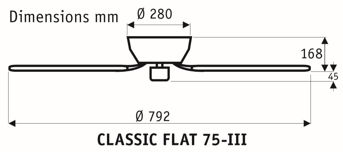 Esquema ventilador de techo CasaFan 5075051 Classic Flat 75