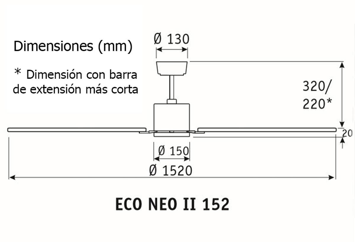 Esquema ventilador de techo CasaFan 92250351 Eco Neo  152