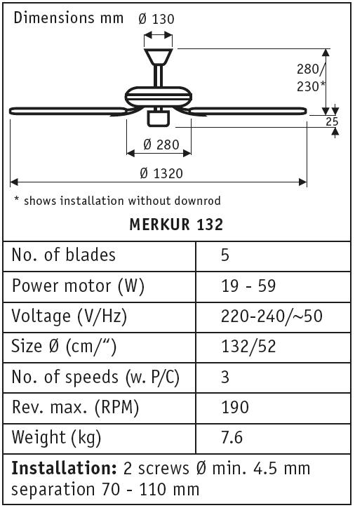 Esquema del ventilador para techos Merkur