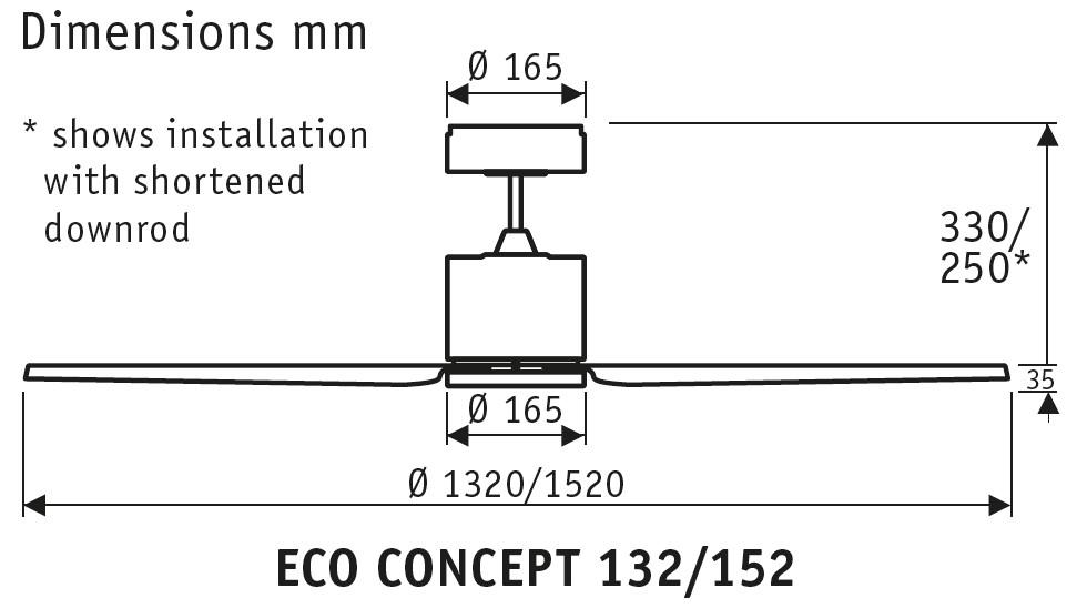 Esquema ventilador de techo Eco Concept 132cm 152cm