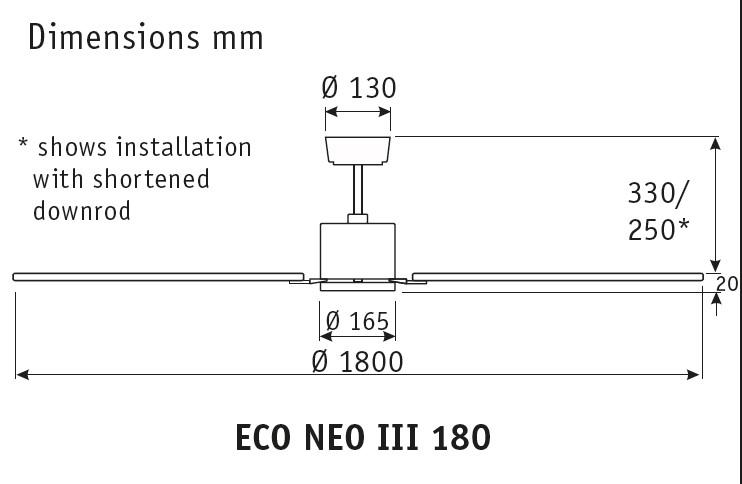 Esquema ventilador de techo CasaFan 922184 Eco Neo  180