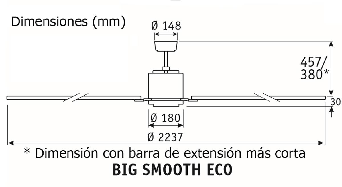 Esquema ventilador de techo CasaFan 922012 Big smooth eco