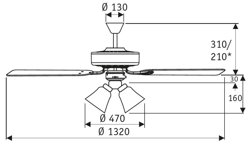 Esquema ventilador de techo CasaFan 513212 Centurion