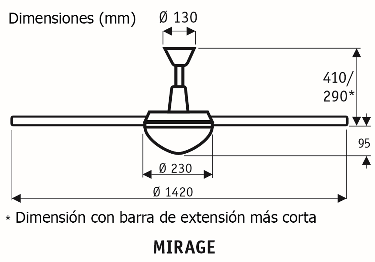 Esquema ventilador de techo CasaFan 9313210 Mirage