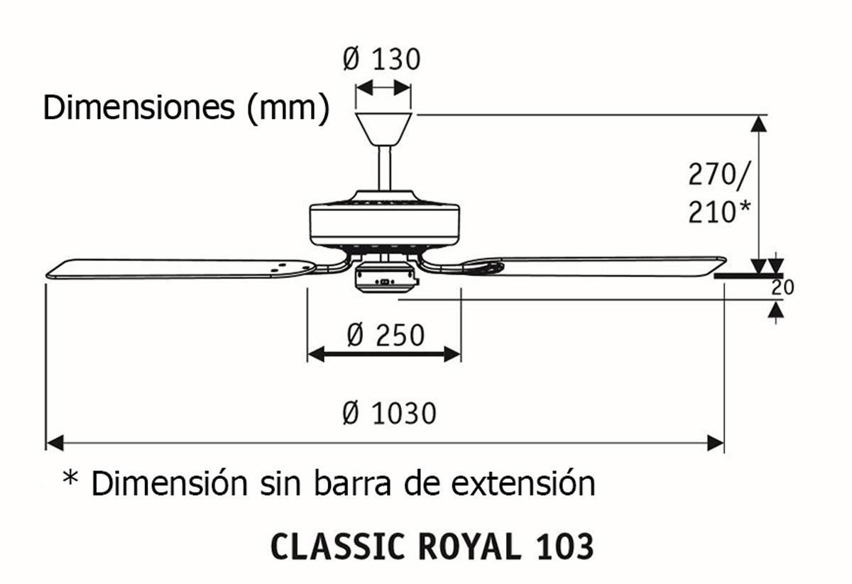 Esquema ventilador de techo CasaFan 510313 Classic Royal 103