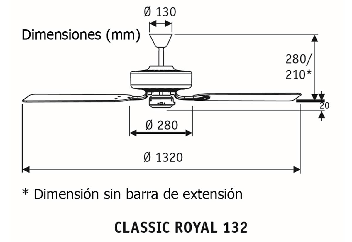 Esquema ventilador de techo CasaFan 51320196 Classic Royal 132