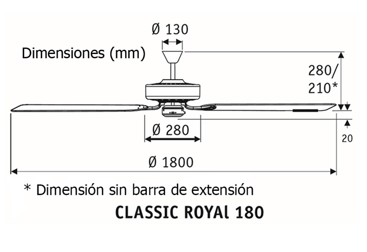 Esquema ventilador de techo CasaFan 518013 Classic Royal 180