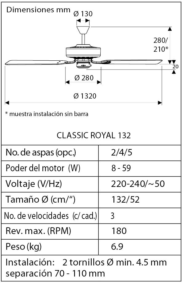 Esquema ventilador de techo CasaFan 513248 Classic Royal 132