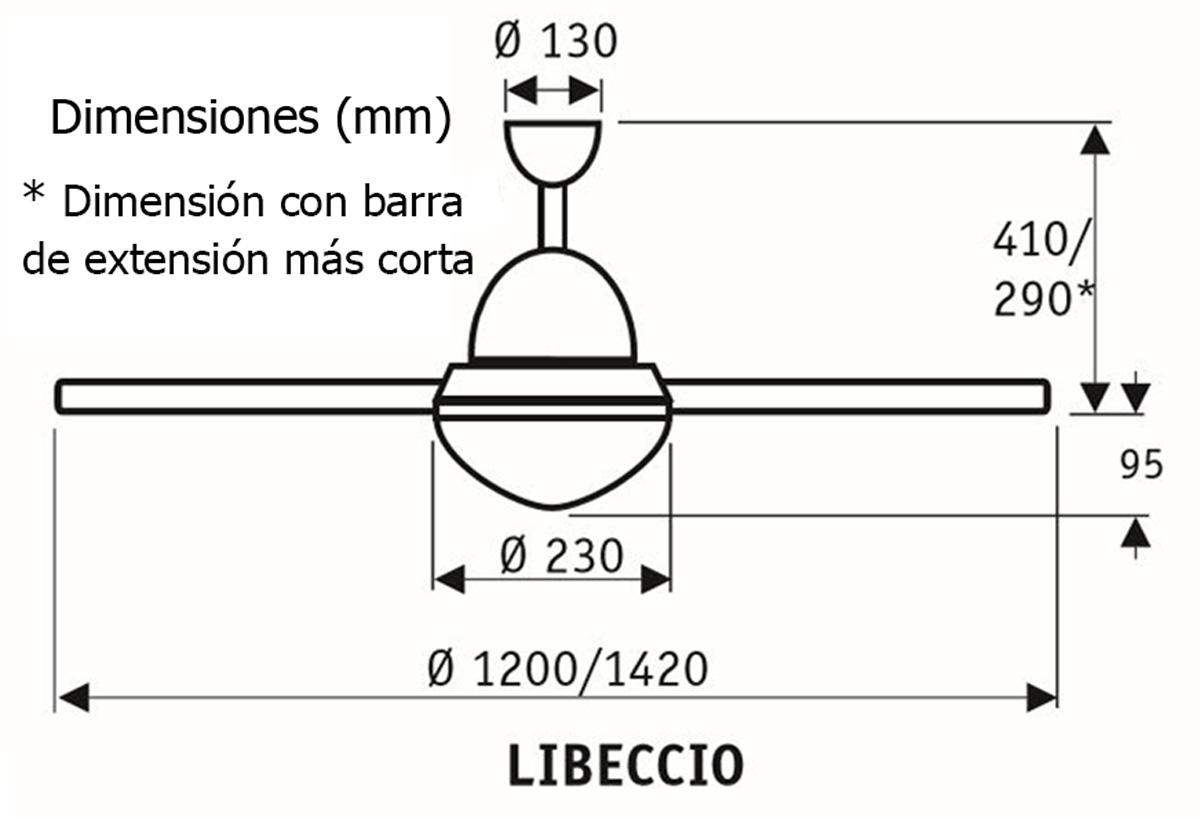Esquema ventilador de techo CasaFan 9314254 Libeccio