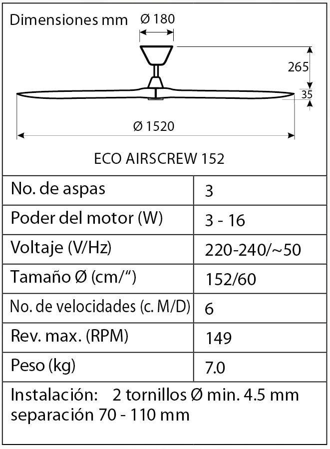 Esquema ventilador de techo CasaFan 315220 Eco Airesrew