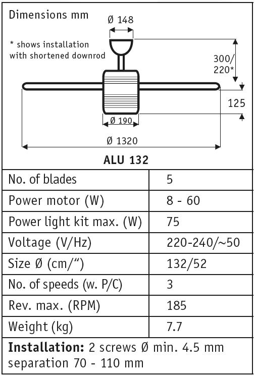 esquema del ventilador de techo ALU de estilo retro