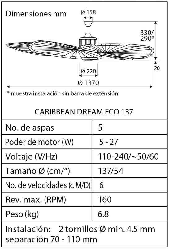 Esquema ventilador de techo CasaFan Caribbean Dream Eco