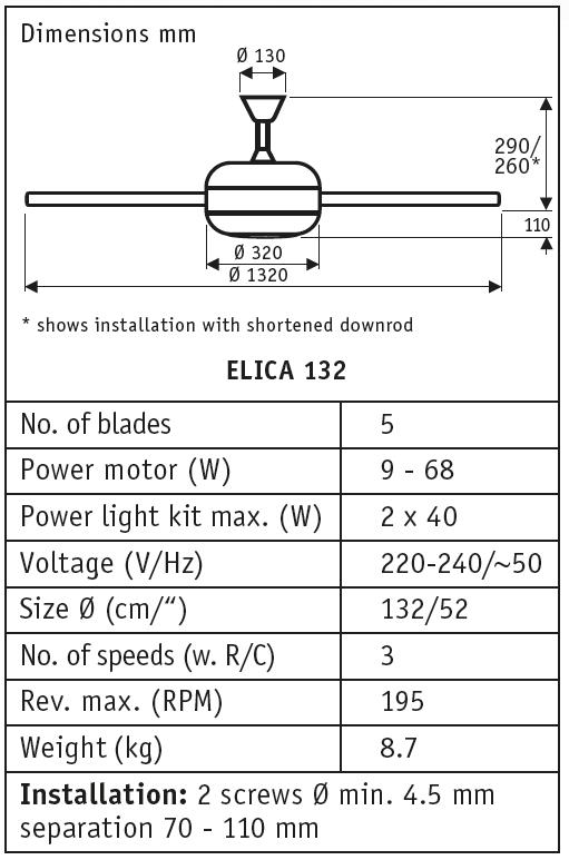 Esquema del ventilador de techo con luz ELICA