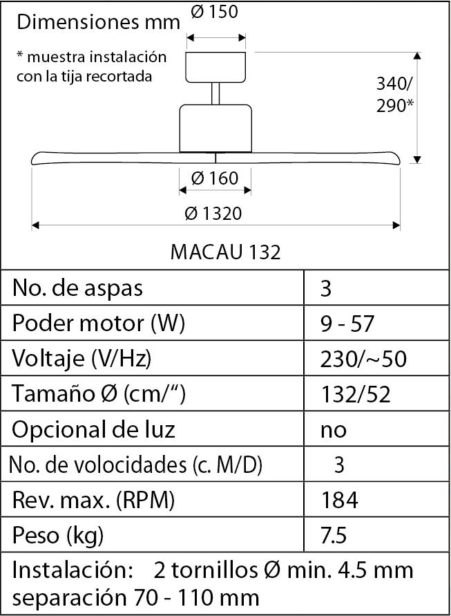 Esquema ventilador de techo Macau Macau BN-NB Nogal/ cromo cepillado