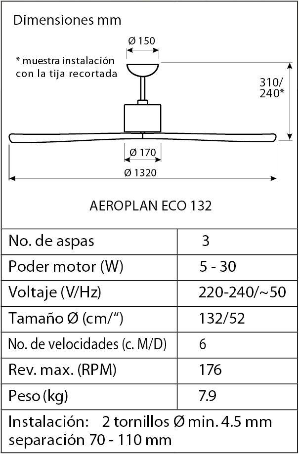 Esquema ventilador de techo CasaFan 313248 Aeroplan Eco