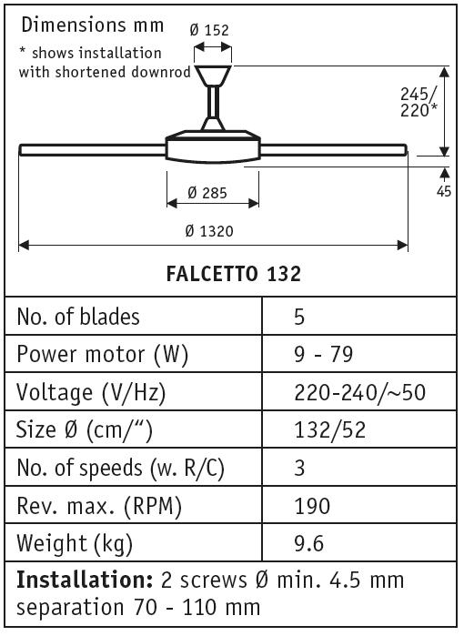 Esquema del ventilador de techo sin luz Falcetto