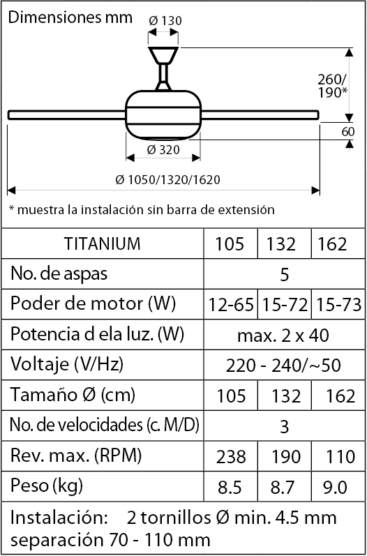 Esquema ventilador de techo CasaFan 9510560 Titanium