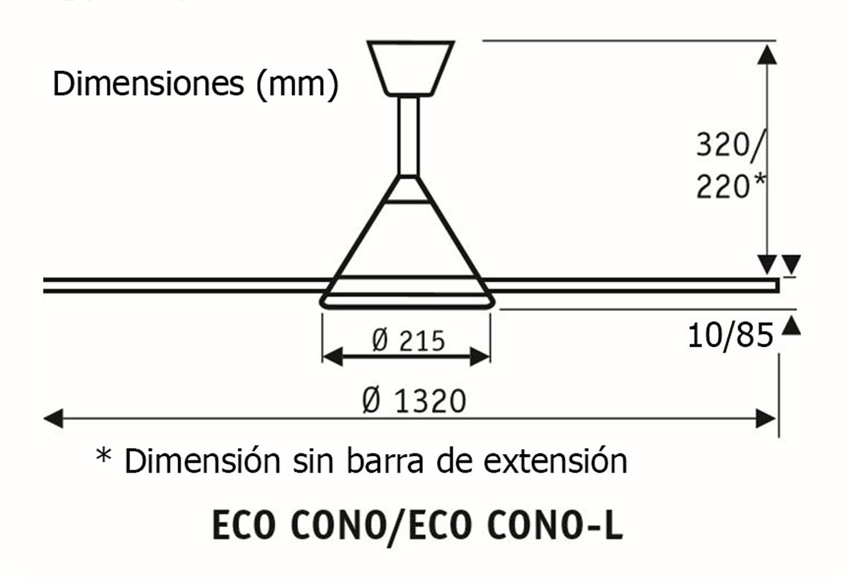 Esquema ventilador de techo CasaFan 413236 eco cono