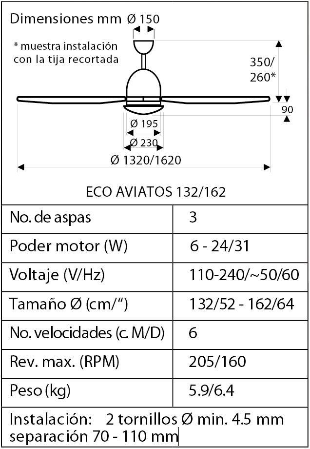 Esquema ventilador de techo CasaFan 516096 eco aviatos