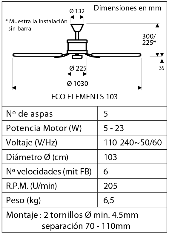 esquema del ventilador para techos ECO ELEMENTS 103 cm